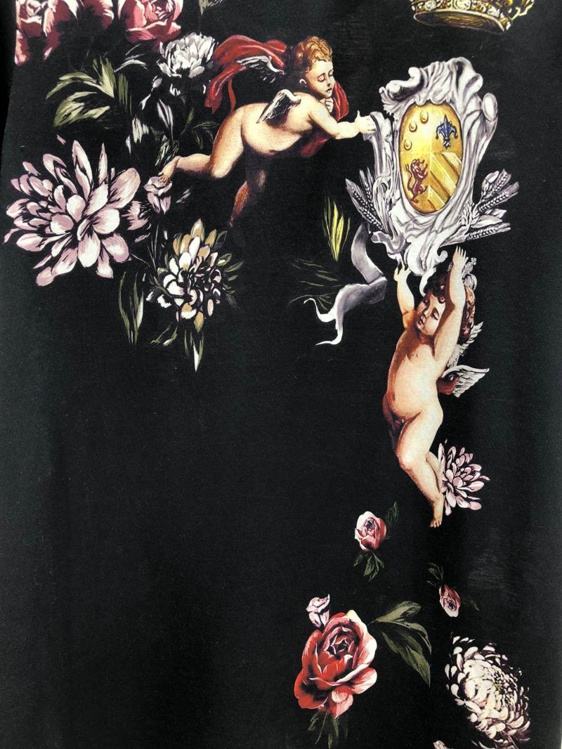 2019 Весна 19ss новые модные футболки Ангел цветок цветочные Корона печать футболка для мужчин хлопок известный бренд одежда Топ Ретро - 6