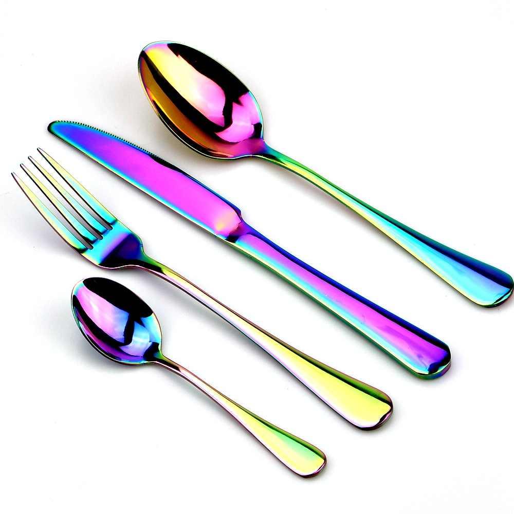 Nhiều Màu Sắc Cầu Vồng Bộ 3 Thìa Ăn Uống Bộ Dao Kéo Hợp Kim Inox 4 Đen Bộ Dao Muỗng Nĩa Bộ Bộ Đồ Ăn Vàng Bạc Tây Bộ Thức Ăn