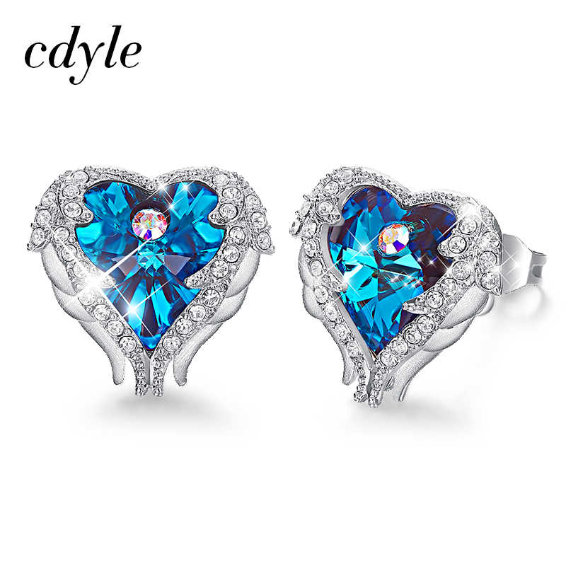 ccf18c658 Cdyle Embellished with crystals Earrings Blue Purple Fashion Jewelry Elegant  Heart Stud Earrings Women Valentine