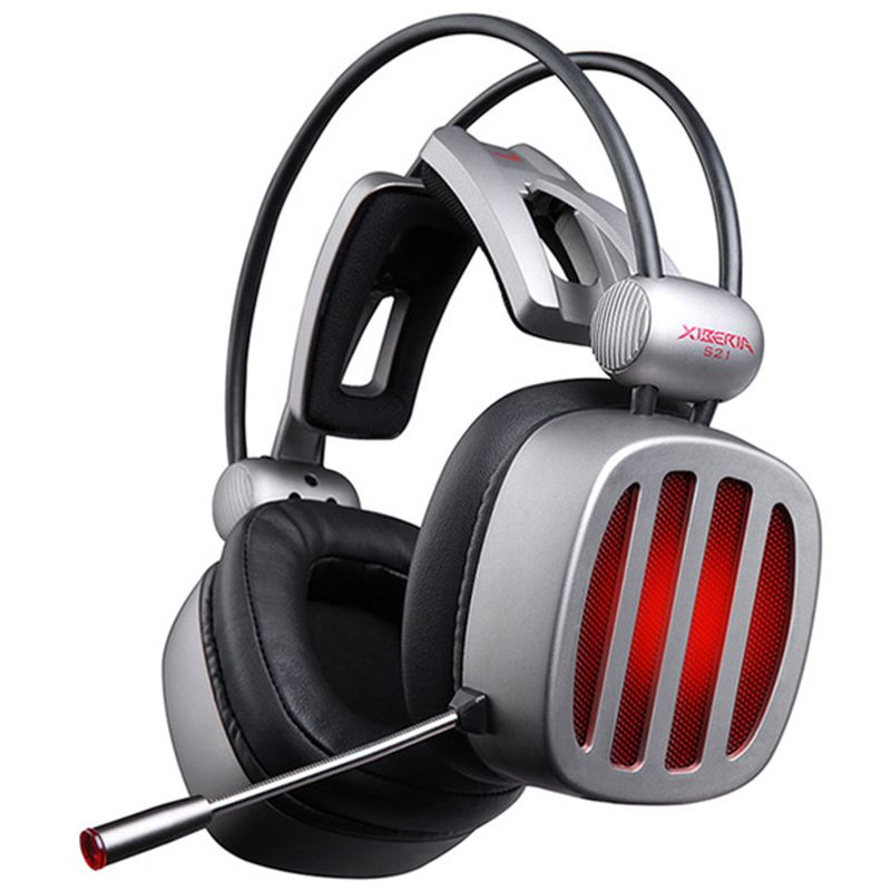 Xiberia S21 Gaming Headset 7.1 Surround Sound Stereo Headphones with Microphone LED Light for Computer Gamer USB Game Headset