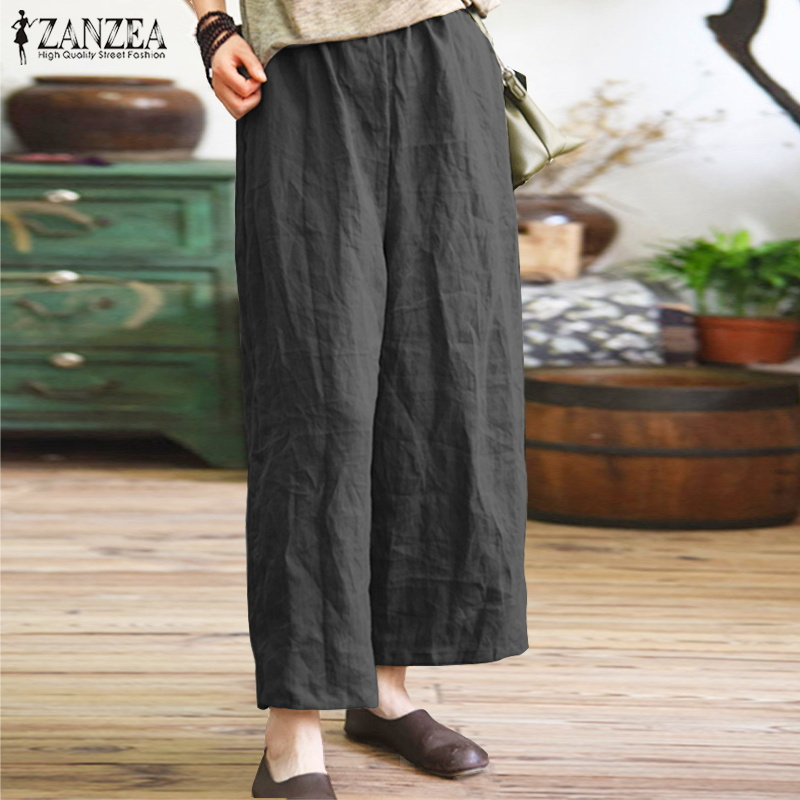 ZANZEA Summer   Pants   2019 Fashion Women Vintage Elastic Waist Trousers Casual Loose   Wide     Leg     Pants   Baggy Pantalon Femme Plus Size