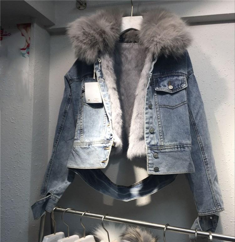 Manches Femmes Veste Nouvelle Ligne Manteau 2018 Fur Lâche Denim Black Blue Parka Jeans Lapin De Real Longues Fourrure Femelle Avec real Réel À OwEqPdq