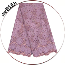 2018 Latest African French Lace Fabric Lilac Guipure Beaded Tulle Fushia Pink Indian Stone For Nigerian Dresses