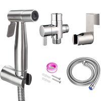 HandHeld Toilet Bidet Sprayer set Kit for Bathroom Toilet Brushed Stainless Steel Diaper Sprayer Shattaf Complete Set Hose clean