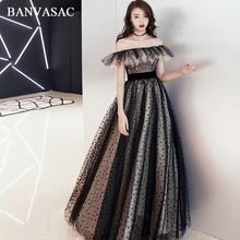 BANVASAC Elegant Ruffles Boat Neck Spots A Line Long Evening Dresses Party Short Sleeve Sash Backless Prom Gowns