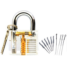 Locksmith Hand Tools Lock Pick Set Transparent Visible Cutaway Practice Padlock With Broken Key Remove Hooks Double Row Tension(China)