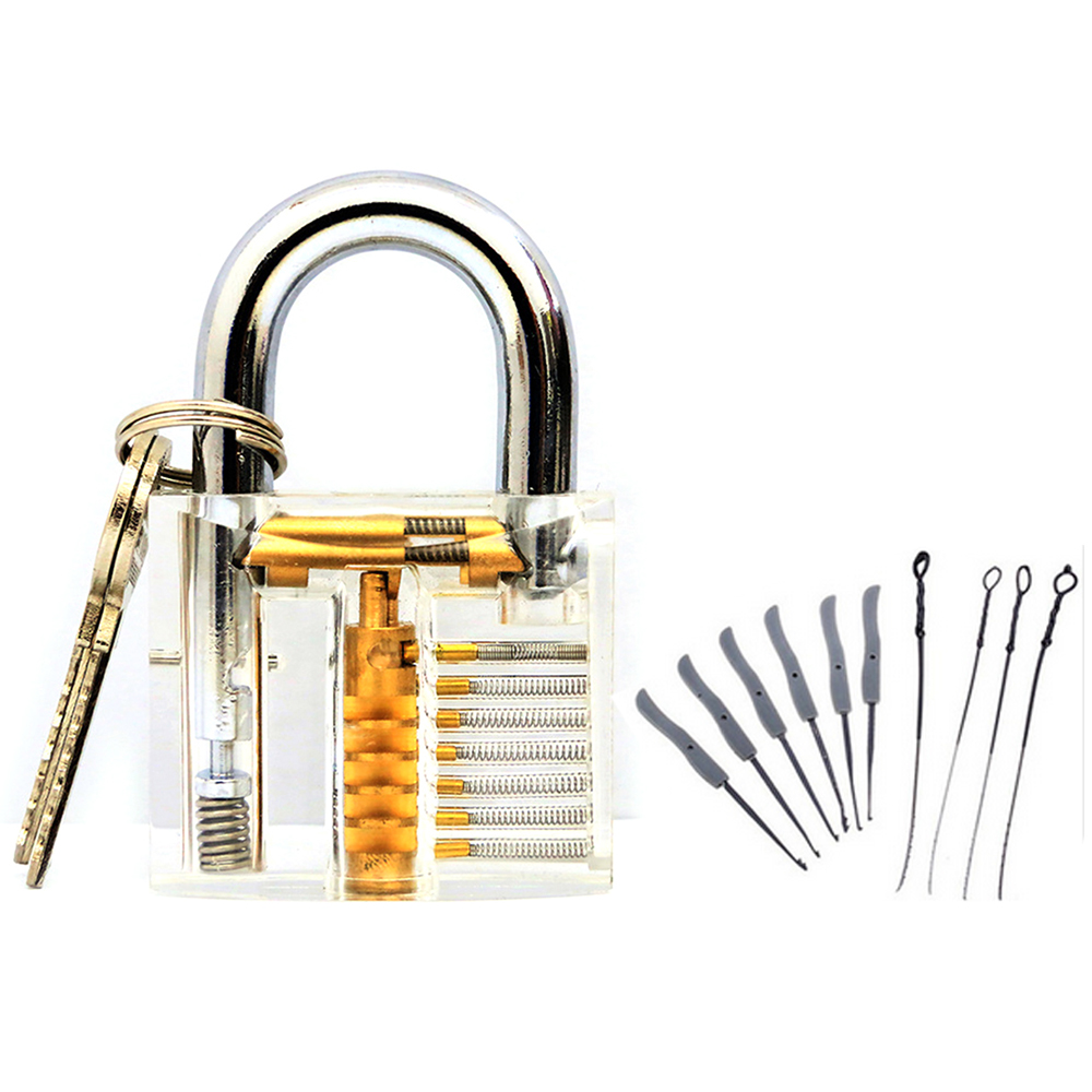 30Pcs Unlocking Lock Pick Set Key Extractor Transparent Practice Padlock Tool