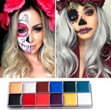12 цветов/набор масляная краска живопись для лица тела пигмент художественная тема вечерние, Хэллоуин, маскарадные платья вечерние инструменты для макияжа