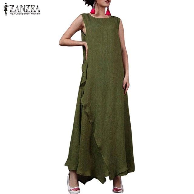 2019 בתוספת גודל ZANZEA קיץ שרוולים ארוך מקסי שמלת נשים מקרית O צוואר פרע Loose שמלות אופנה מוצק פיצול שמלה קיצית