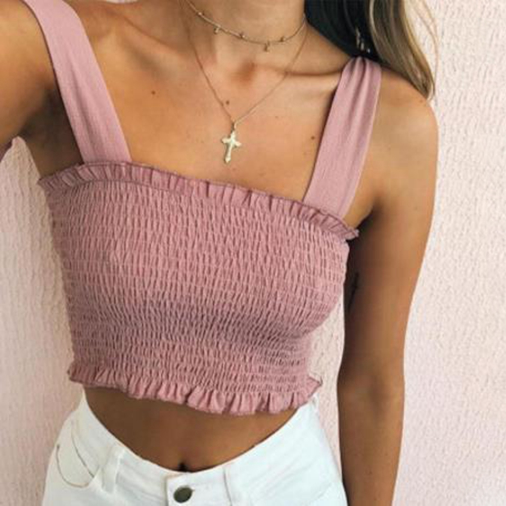 Women Summer Casual Plaid Print Solid Color Fashion Bowknot Strap Sleeveless Camisole Top Sexy Plaid Print Elastic Slim Crop Top