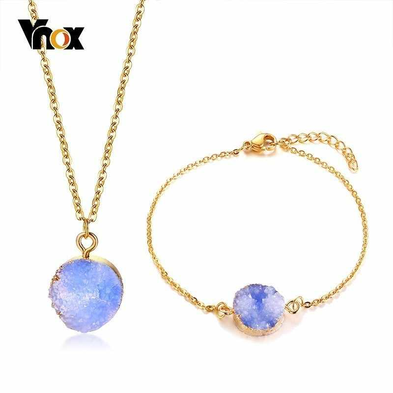 Vnox Elegant Natural Stone Irregular Pendant Bracelet for Women Jewlery Set Gold Tone Stainless Steel Necklace Party Jewelry