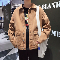2019 Spring And Autumn New Korean Men's Jacket Loose Youth Casual Trend Single breasted Jacket White / Khaki M 2XL