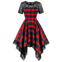 e551298cb5a Kenancy Women Lace Patchwork Swing Party Dresses Red Checked Vintage Dress  Hepburn Rockabilly Summer Pin Up
