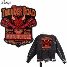Pulaqi Ride Motorcycle Patches for Clothing Iron On Thunder Road Appliques Big Biker Patch Sew Jackets Coat Stickers H
