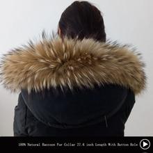 Зимний воротник из натурального меха енота, шарф из натурального меха енота, 70 см, модное пальто, свитер, шарфы, воротник, шапка с пуговицами