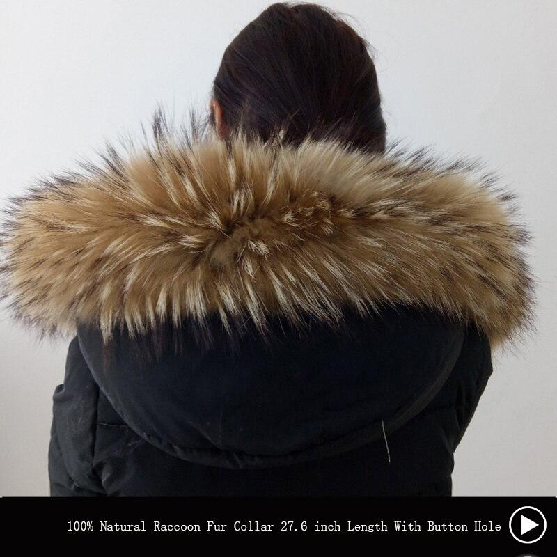 Winter Echt Waschbären Pelz Kragen 100% Natürliche Waschbären Pelz Schal 70 CM Mode Mantel Pullover Schals Kragen Neck Cap Mit taste Loch