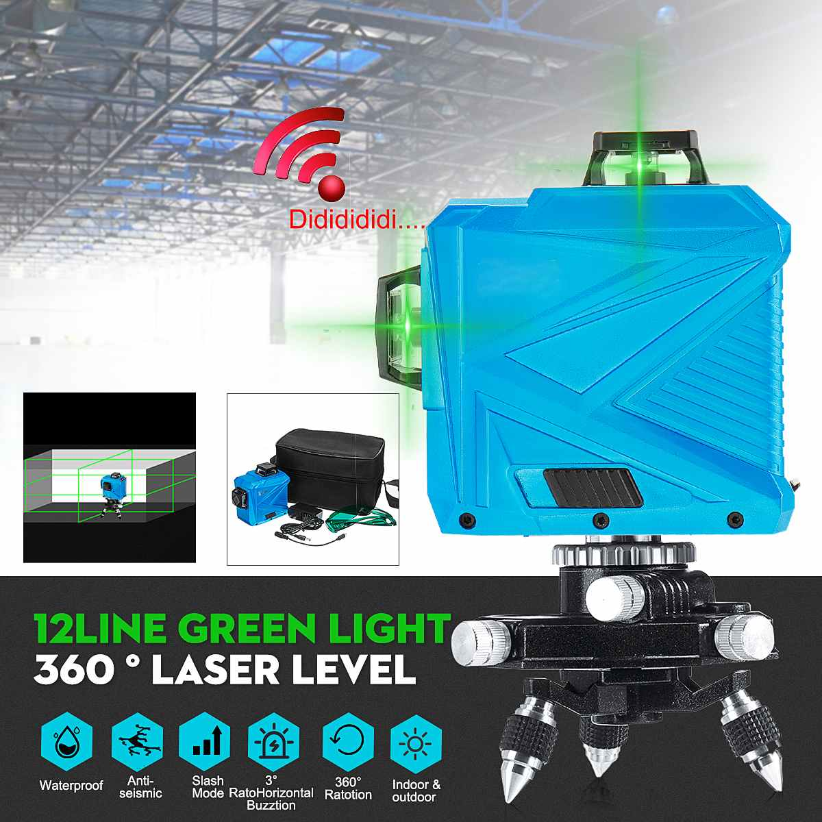 3D 12 Line Green Light Laser Level Auto Self Leveling 360 Rotary Measure Cross  Wall Mounted Bracket Tripod Base  T-shaped3D 12 Line Green Light Laser Level Auto Self Leveling 360 Rotary Measure Cross  Wall Mounted Bracket Tripod Base  T-shaped