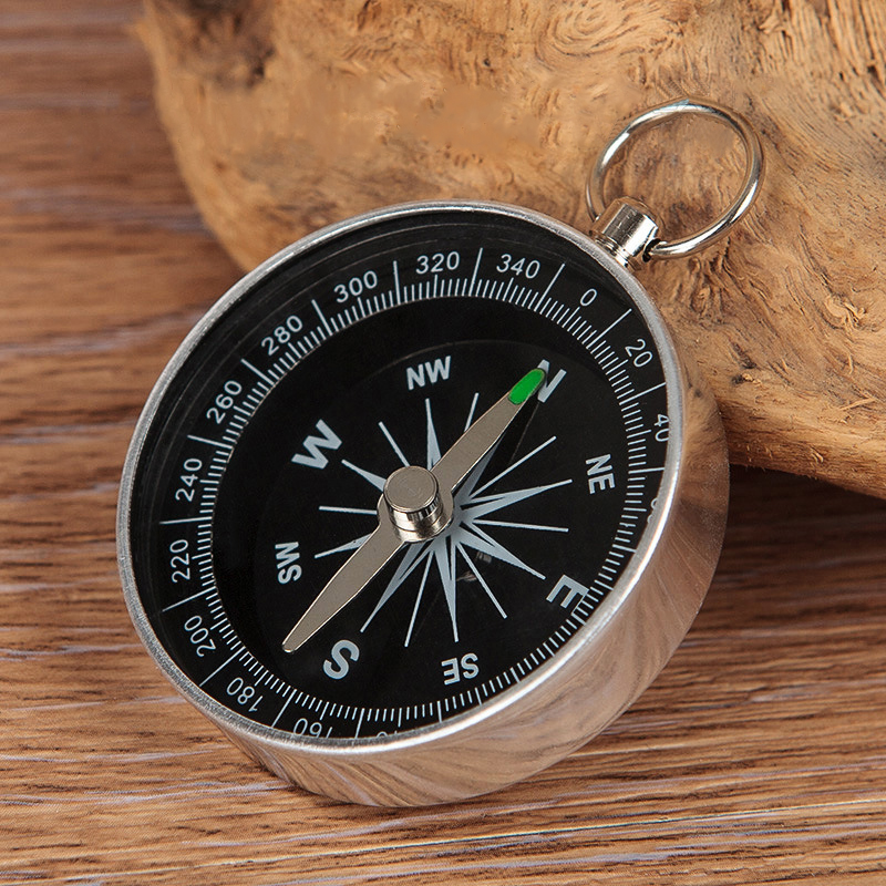 2X Aluminium Alloy Keychain Keyring Metal Compass for Camping Hiking
