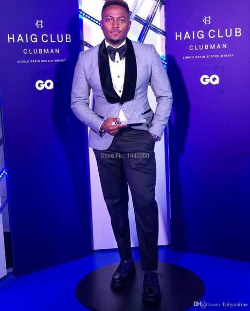 10c547f7a12f 2019 Light Grey Blazer Men Suits For Wedding Black Pants Velvet Lapel Groom  Tuxedos Casual Prom Suits Groomsman Terno Masculino