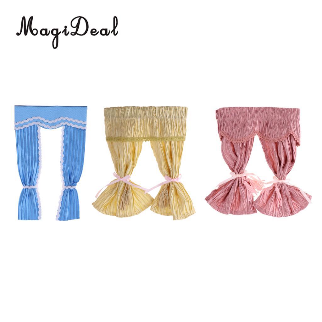 MagiDeal Handmade Dollhouse Decoration Lovely Style Satin Silk Long Curtain For 1/12 Dollhouse