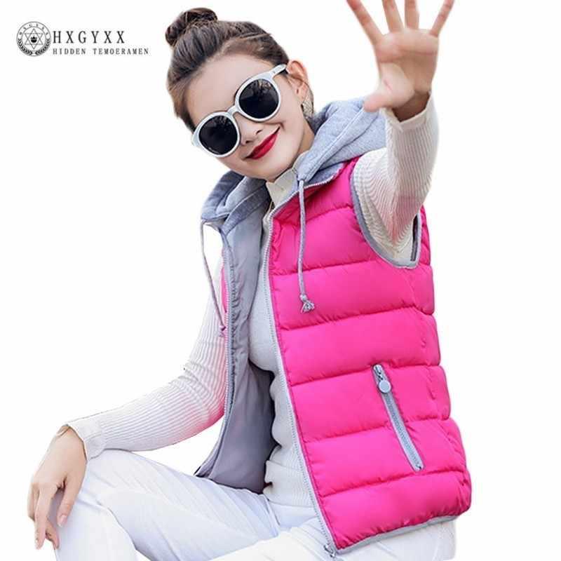 2019 Mùa Thu Bông Độn Vest Mũ Có Thể Tháo Rời Mỏng Ấm Áo Ghi Lê Áo Cộng Với Kích Thước Nữ Outwear Phụ Nữ Không Tay Áo Khoác Mùa Đông OKD432