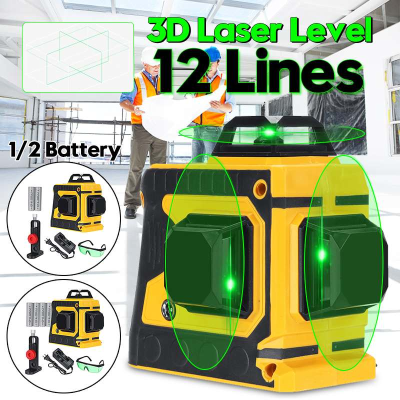 12 Lines Green Cross Line Laser Level with 1/2 Battery 532nm 3D 360 Degree Rotation Auto Leveling Horizontal Vertical Laser Beam
