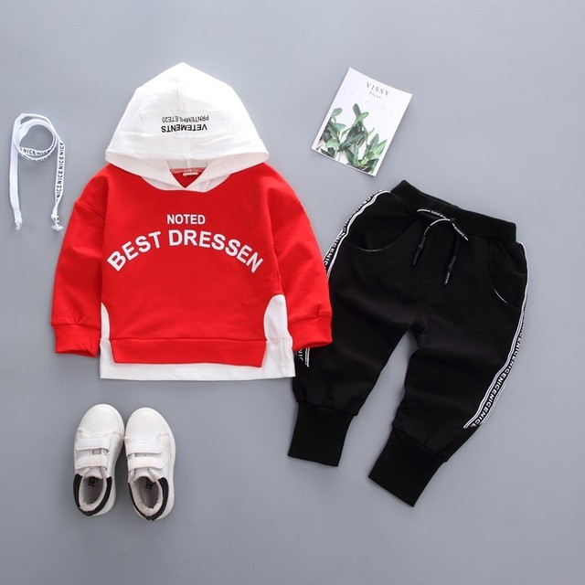 3f9aab8c 2019 New Spring Autumn Children Boys Girls Cotton Tracksuits Baby Fake Two  Hoodies Pants 2Pcs/Sets Fashion Toddler Clothing Suit