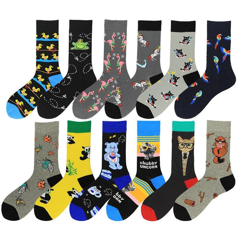 PEONFLY 1 Pair Men Socks Cotton Funny Crew Socks Cartoon Animal Duck Dog Women Socks Novelty Gift Socks For Spring Autumn Winter