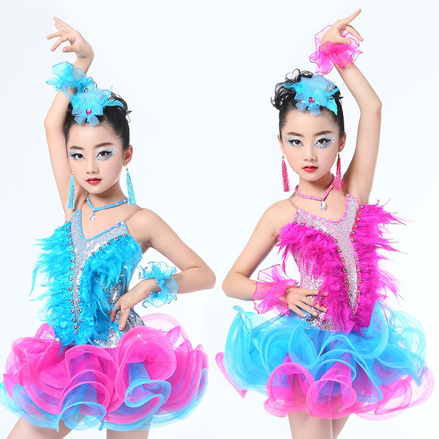 Girls Jazz dancewear costume Kids Modern Latin Sequined Ballroom Party Dancing Dress Child Dancing tutu dress clothes For Girls