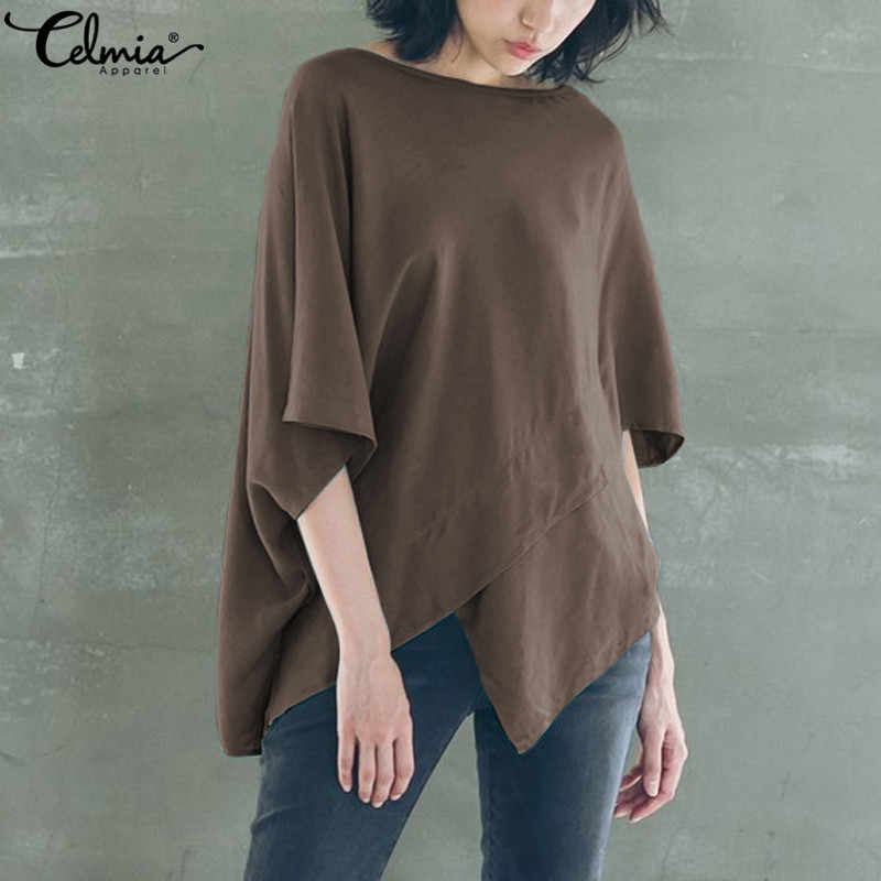 3e68be6c ... Celmia Vintage Oversized Women Blouses 2019 Summer Tops Casual Batwing  Sleeve Irregular Hem Loose Blusas Femme ...