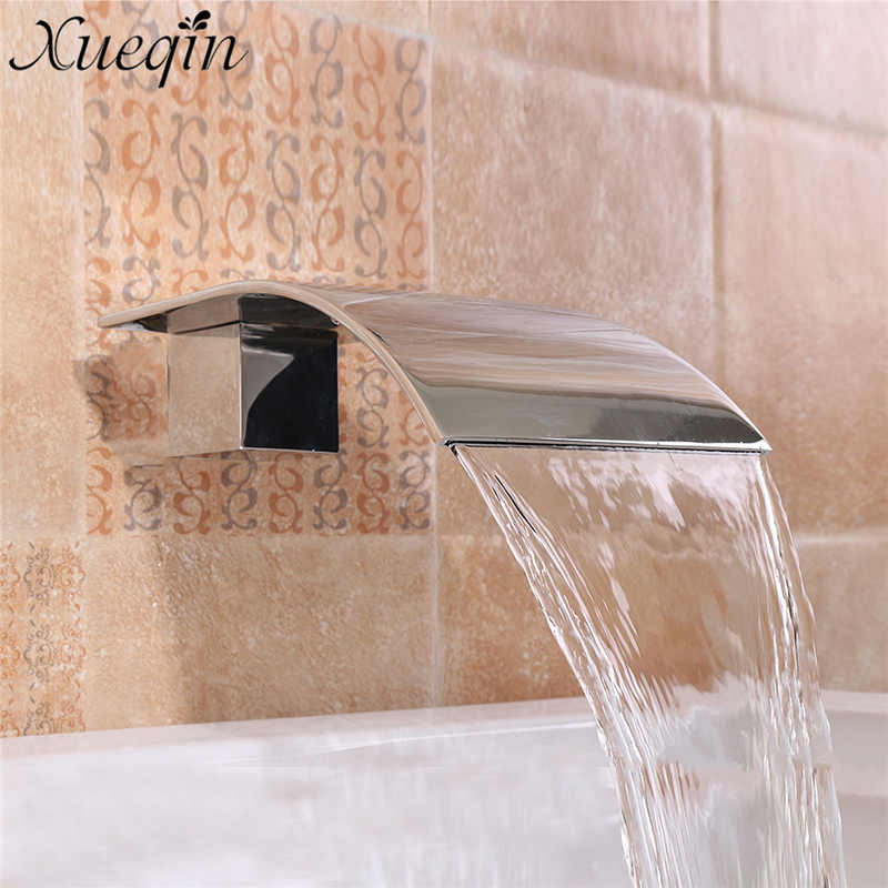 G1/2'' Solid Brass Waterfall Square Basin Sink Faucet Wall Mounted Bathroom Silver Basin Faucet Bathtub Tub Shower Faucet