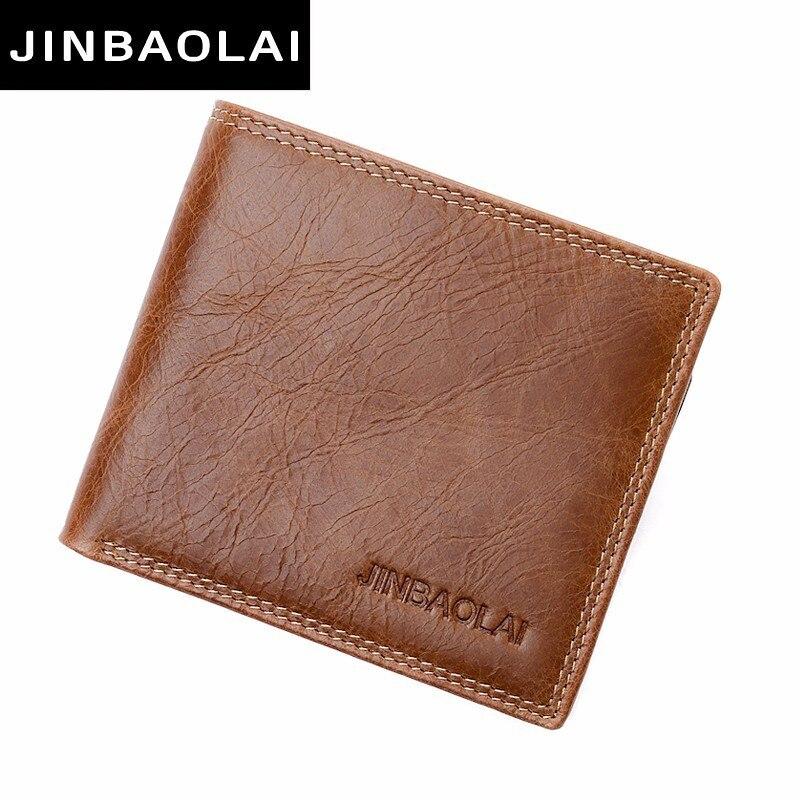 JINBAOLAI original brand cow leather male wallet vintage double suture design bifold leather wallets for men hight quality purse jinbaolai