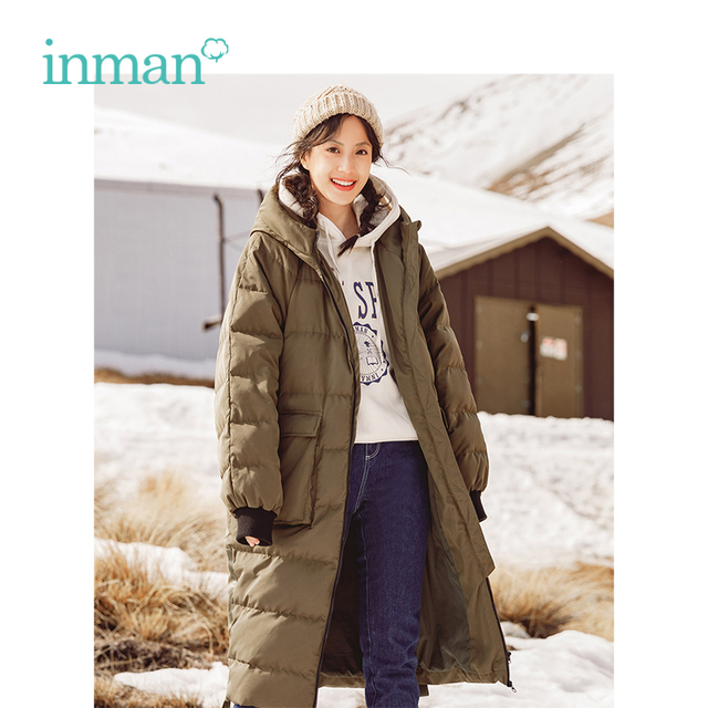 57d046c651e1 INMAN 2018 Winter New Arrival Hooded Warm Windproof Slim Long Section Woman Down  Coat