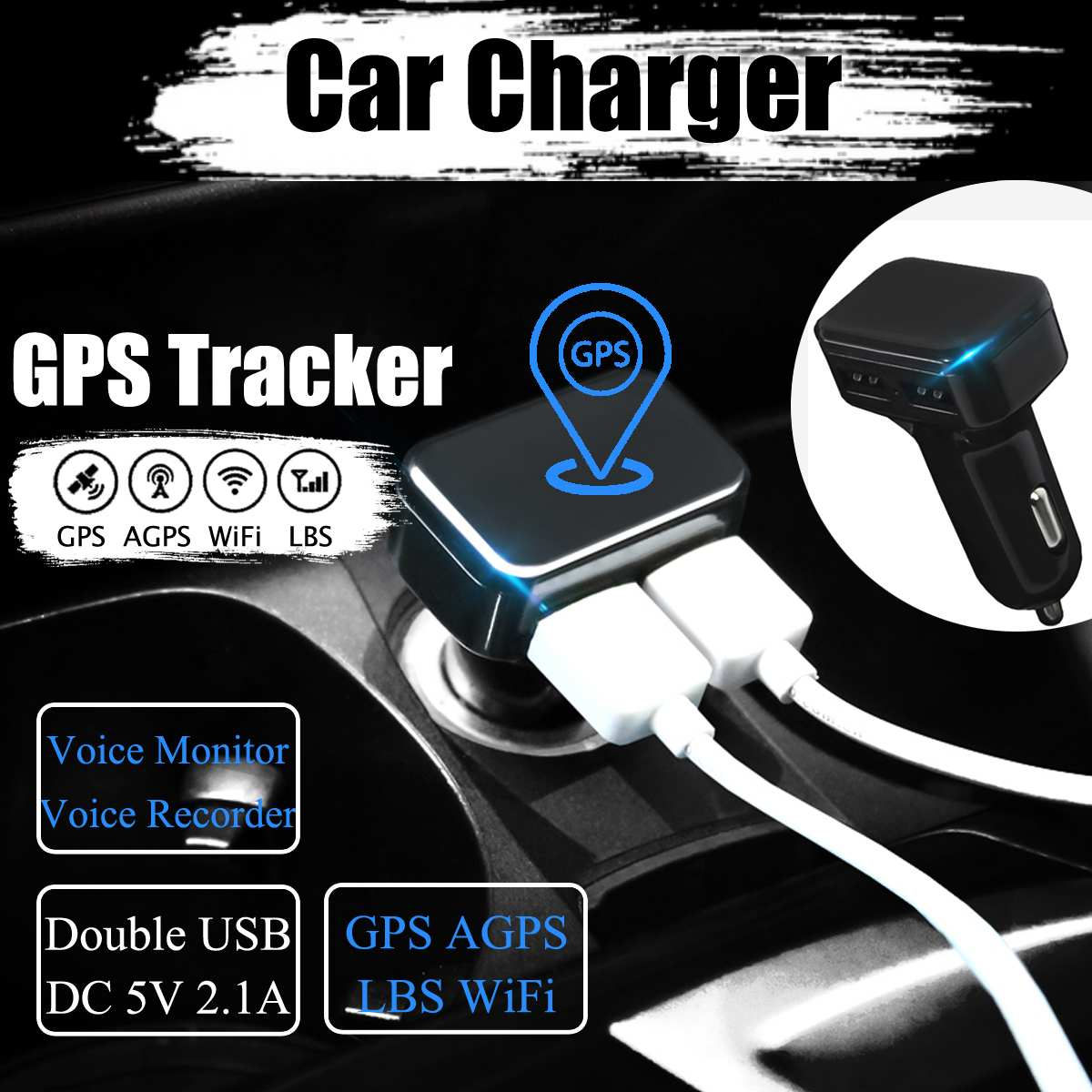 Car Charger GPS Tracker GPS GSM Wifi LBS Real-time Tracking Call SMS Coordinate Voice Monitoring Recorder Free APP Web ZX303 PCB image