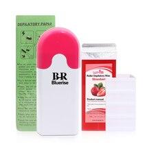 Wax warmer profissional conjunto rolo no cartucho depilatório aquecedor depilação depilação papel máquina depilador kit