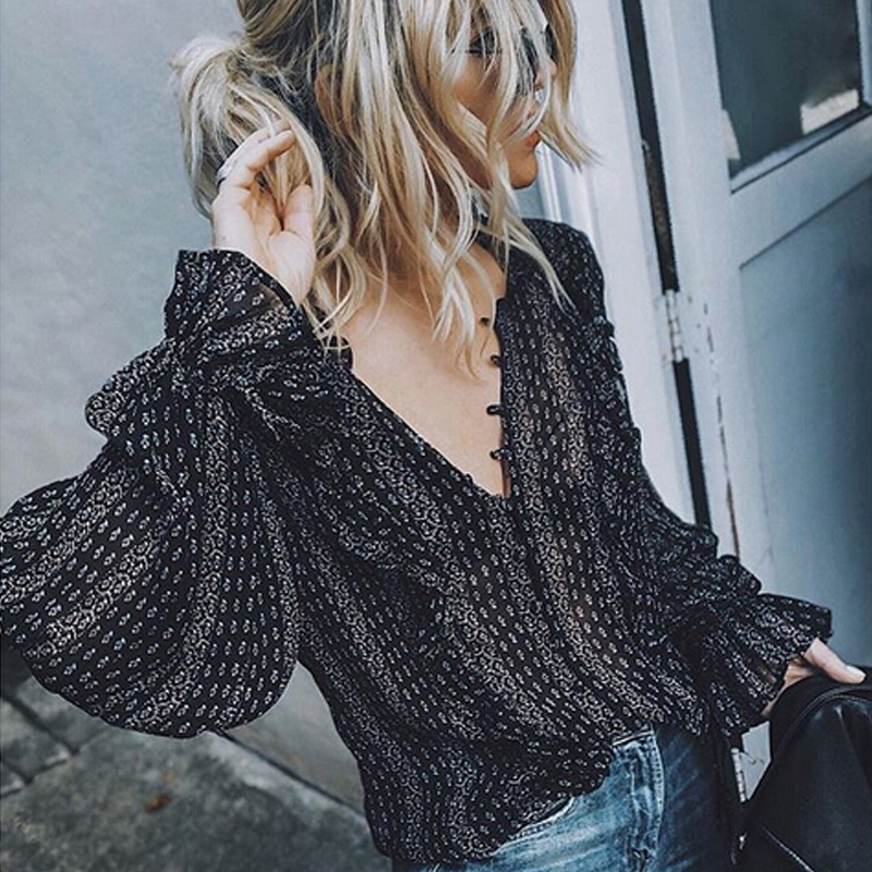 2019 Retro   Blouse   Women Black Boho Office Casual Balloon Long Sleeve V-Neck Tops Sexy Loose   Shirts     Blouses   Plus Size S-3XL