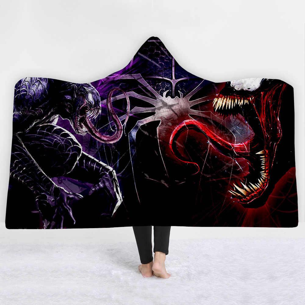Venom à capuche couverture épaississement portable polaire cape magique Siesta usure canapé/lit/avion voyage literie jeter couverture dans le chapeau chaud