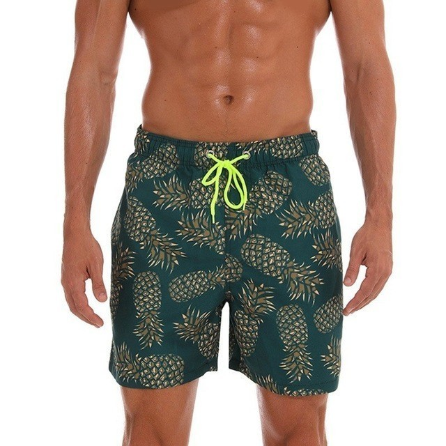Print Beach   Shorts   Mens Swim   Shorts   Swimwear Men Swimming Trunks   Board     Shorts   Sport Bermuda Surf Bathing   Short   Suit M-3XL Lined