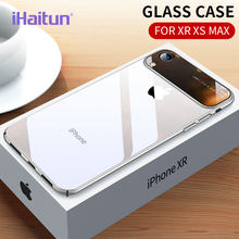 iHaitun Luxury Lens Glass Case For iPhone XS MAX XR Cases Ultra Thin PC Transparent Back Glass Cover For iPhone X XS 10 7 8 Plus(China)