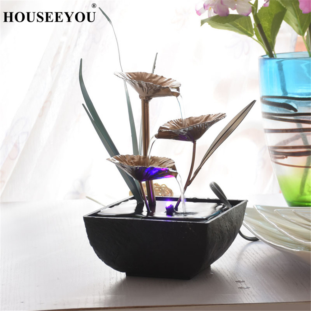 Floral Landscape Water Fountains Home Decoration Feng Shui Water Flow Wheel Home Office Table Figurines Decoration Crafts Gifts