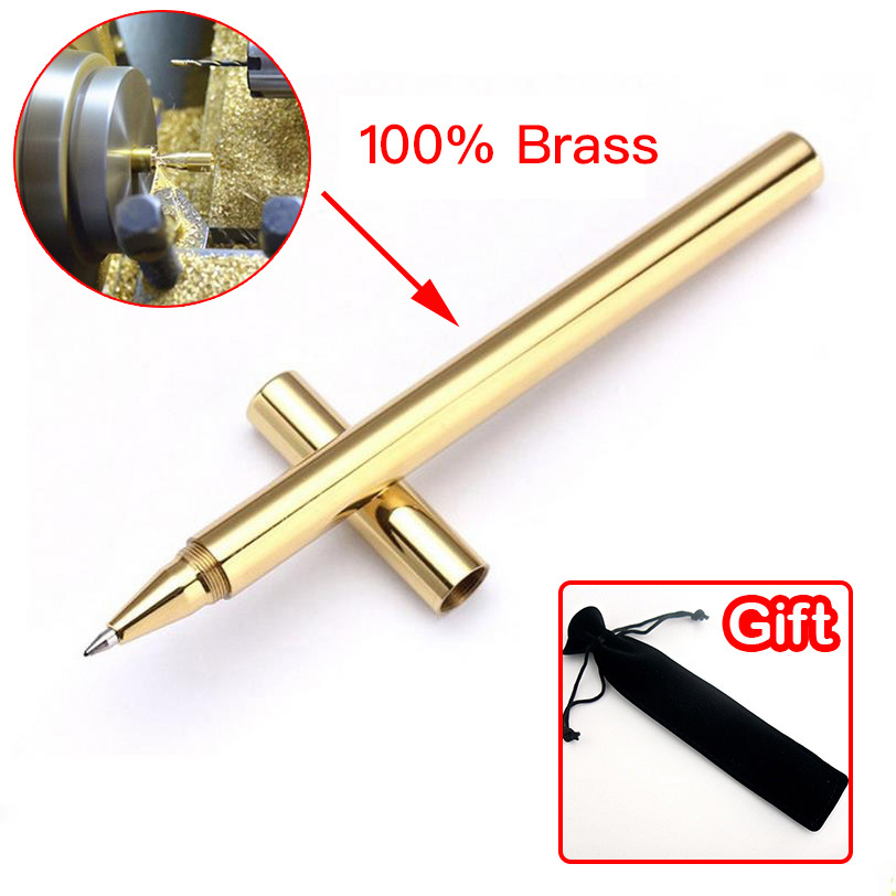 Fashion Full Metal Handmade Canetas Brass Gel Pen School Supplies Stationery Copper Creative Student Gifts 03639