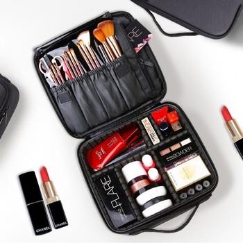 2019 profesjonalna kosmetyczka kosmetyczka organizator do torby kobiety podróż makijaż przypadki duża pojemność kosmetyki walizki do makijażu X32 tanie i dobre opinie LIKETHIS Oxford 15cm Stałe 12inch Sprawy kosmetyczne zipper Lady 0 6kg X3235