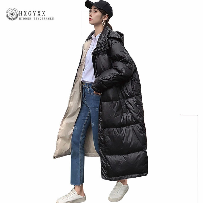 Oversize Quilted Coats Winter Jacket Women Clothes Plus Size Cotton Padded Outwear Long Hooded   Parka   Zipper Warm 2019 Okd540