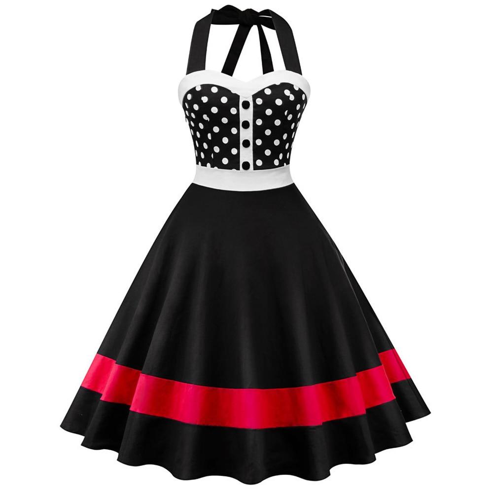 0dc495fc6e US $12.69 51% OFF|ZAN.STYLE Polka Dot Print Halter Vintage Dress Women  Sleeveless Summer Pin Up Dress Swing Rockabilly Party Dresses Tunic  Vestido-in ...
