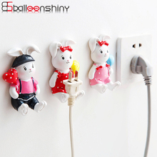 BalleenShiny Cute Rabbits Outlet Plug Storage Hooks Home Kitchen Power Line Neaten Hanger Wall Adhesive Gadgets Decorative Gifts