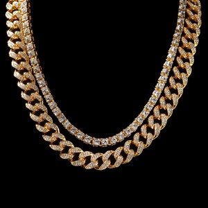 Image 3 - UWIN 2 Necklaces Fashion Hiphop Jewelry 13mm Cuban Link Chain With 5mm Iced Out Rhinestones Tennis Chains Gold Color Necklace