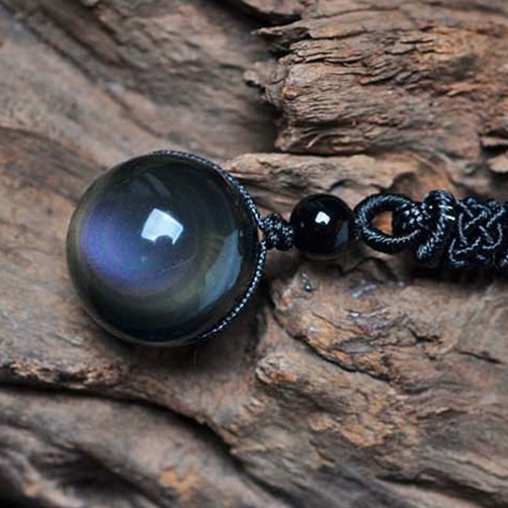 Natural Obsidian Pendants Rainbow Eye Good Luck Bead Pendant Woman Long Chain Necklaces Knitted Harajuku Necklace Crystal Ball