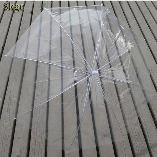 Дождевик прозрачный однотонный 300 г унисекс 6 дюймов палка Геометрическая 27 купольная ручка 70 см зонтик длинный прямой 8 ручка прозрачный длинный