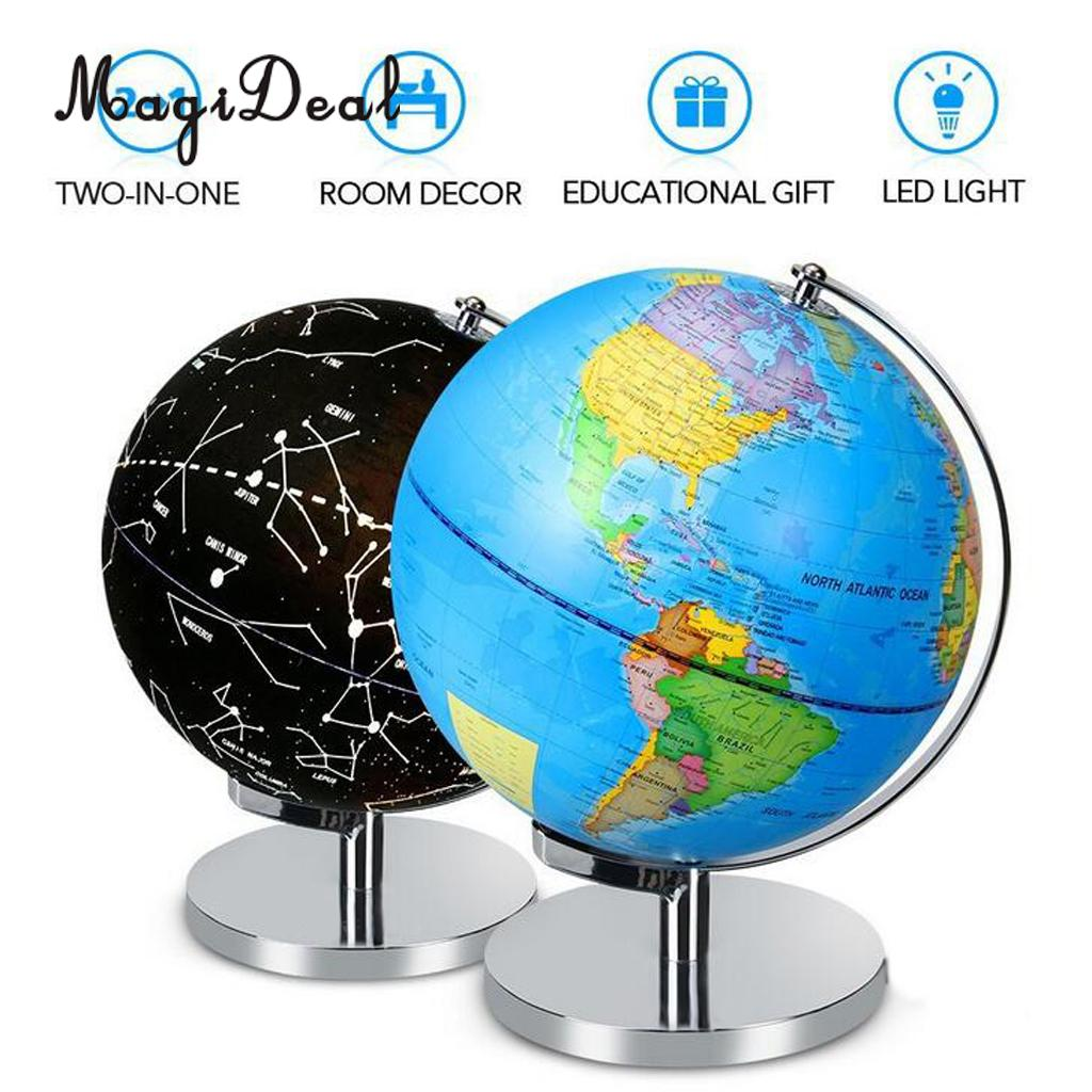 US $33 37 27% OFF|LED Illuminated Blue Ocean Globe Constellation World Map  Interactive Globe Kids Learning Toy-in Figurines & Miniatures from Home &