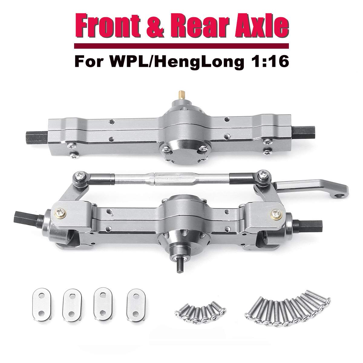 Free Shipping Titanium Color All Metal Front /Rear Bridge Axle Set For WPL For HengLong 1/16 Military Truck RC Car Part front canard wing set spoiler for 1 10 rc racing car free shipping